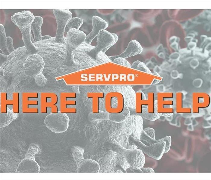 "SERVPRO logo with words ""Here to Help"" superimposed over background with viruses"